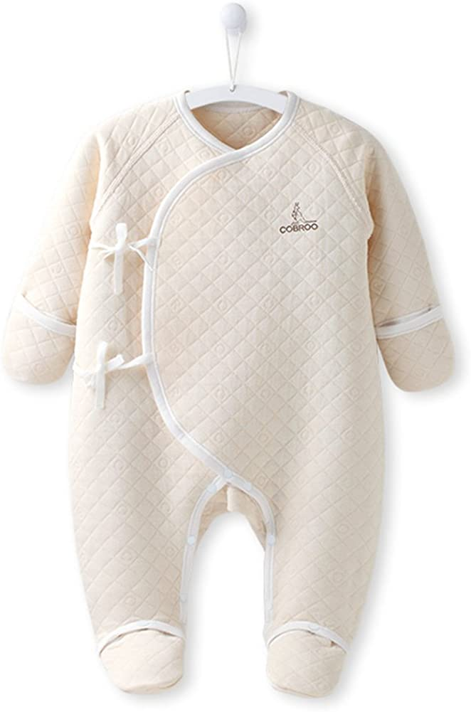 COBROO 100/% Cotton Newborn Footie Pajamas with Mittens Side-Belt Baby Footed Sleeper Loose Fit Baby Outfits 0-6 Months