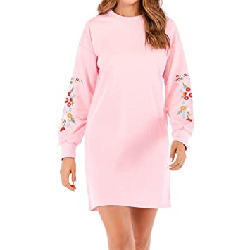 9f6bc9a398c Image Unavailable. Image not available for. Color  Hot Sale!Women Floral  Embroidery Dress Long Sleeves ...