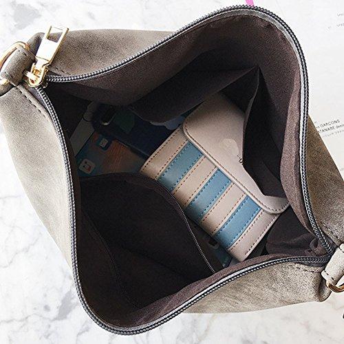 Damen Grosse Kapazität Taschen Pu Leder Umhängetasche Handtasche + Schultertasche 2Pcs Grün Hellgrau