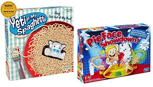 Fun For Five & Up Game Set: Pie Face Showdown and Yeti in My Spaghetti - 2 Items Bundled by Maven Gifts