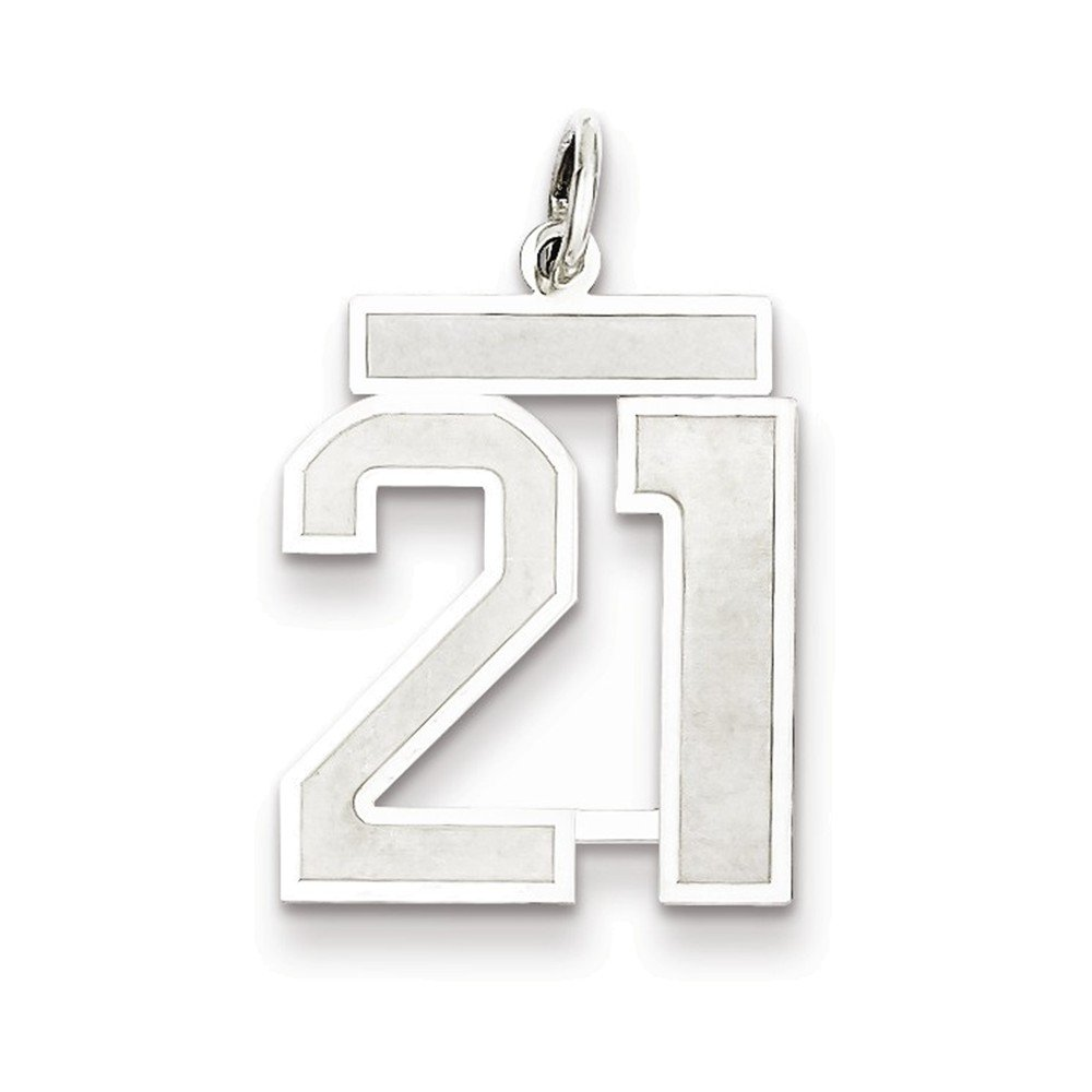 Jewelry Adviser Sterling Silver Small Polished Number 21
