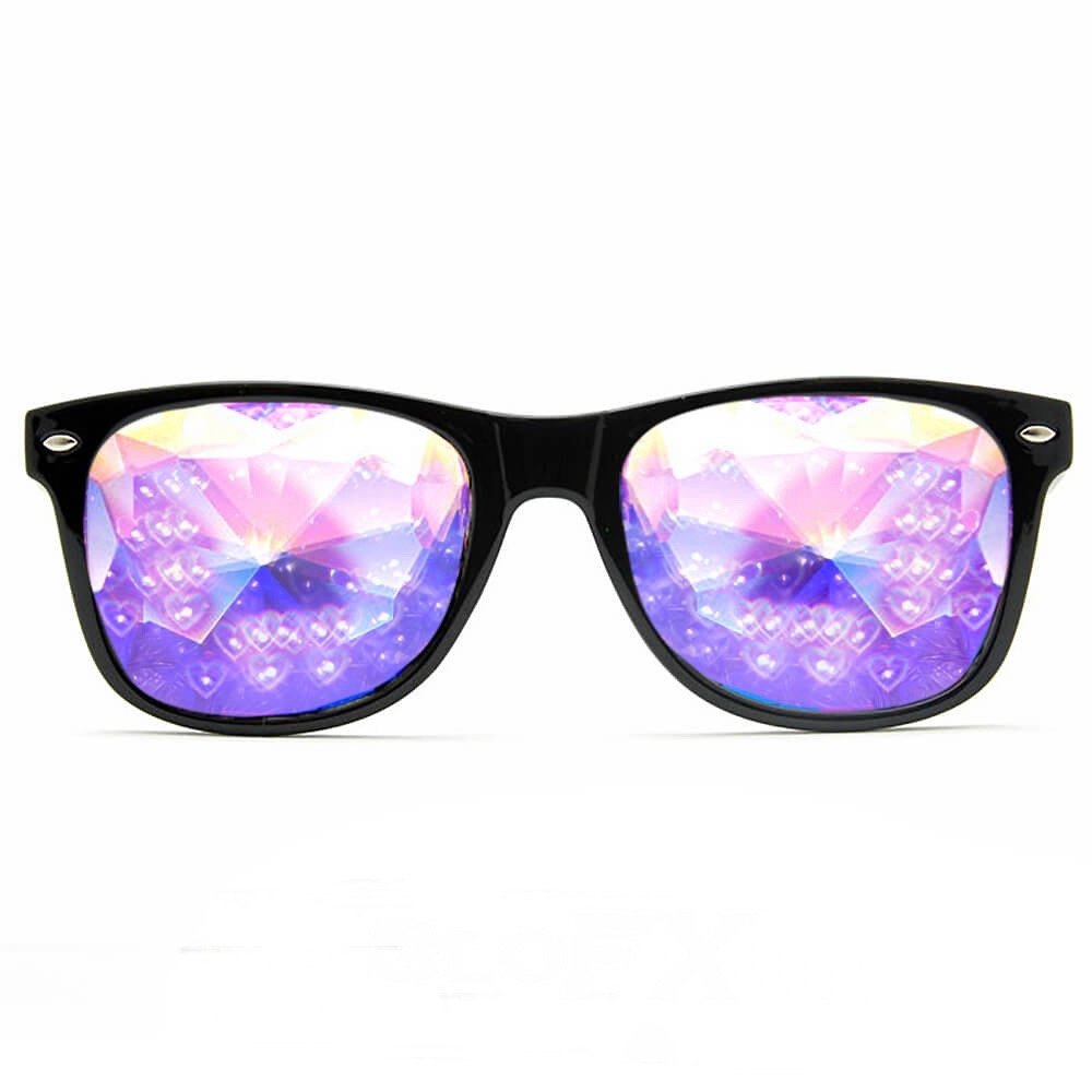 GloFX Heart Effect Ultimate Kaleidoscope Glasses - Black - Rave Rainbow EDM Diffraction by GloFX