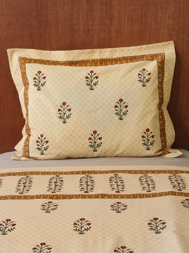 Flanged Sham - Red Poppy ~ Indian Floral Luxury Standard Pillow Sham Flanged 27