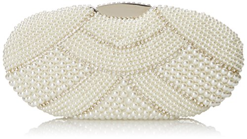 MG Collection Mirela Classic Pearl and Rhinestone Embellished Hard Case Evening Box Evening Bag Beige One Size