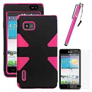 MINITURTLE, Dual Layer Tough Skin Dynamic Hybrid Hard Phone Case Cover, Clear Screen Protector Film, and Stylus Pen for Android Smartphone LG Optimus F3 MS659, LS720, VM720 (Black / Pink)