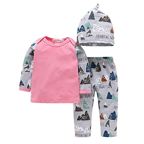 MiyaSudy Toddlers Baby Boys Long Sleeve Romper+ Camouflage Pants+Hat Infant Newborn Clothing Set (12-18 Months, Pink)