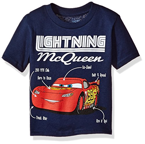 Disney Toddler Boys' Lightning McQueen Short Sleeve T-Shirt, Navy, 3T