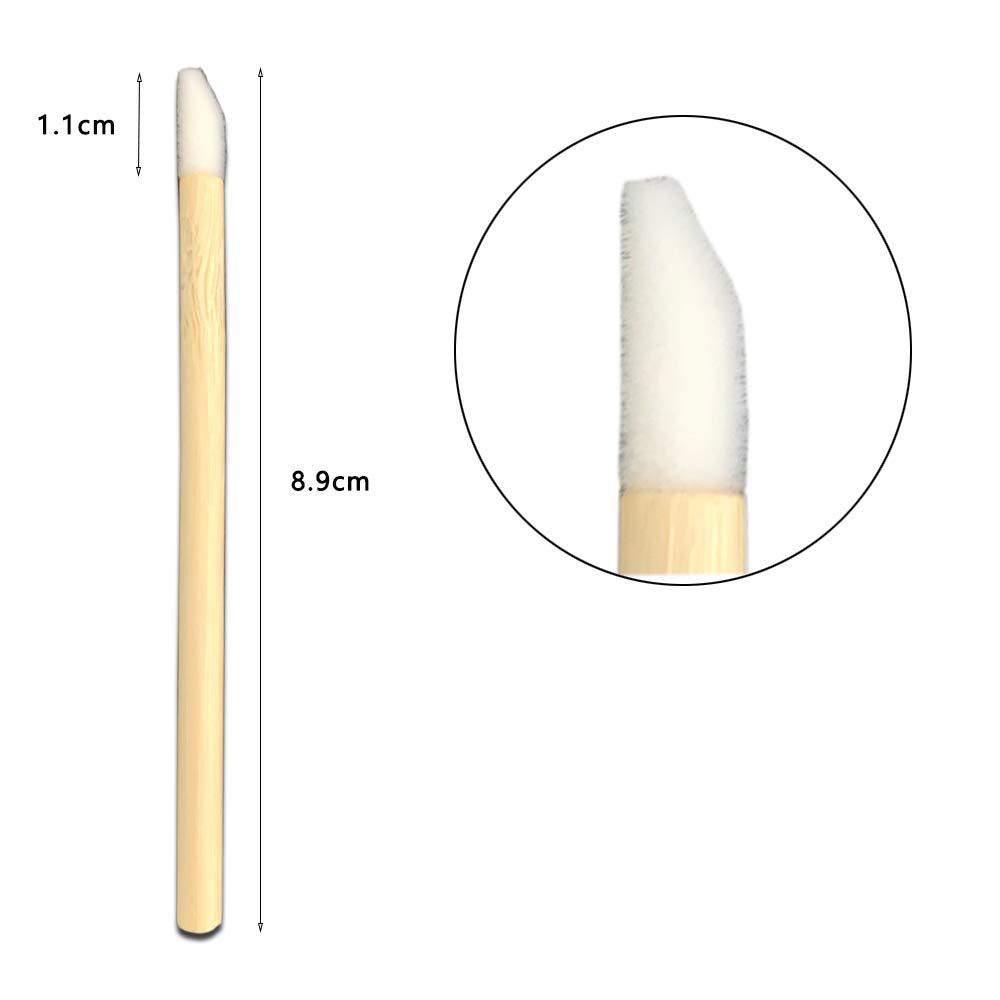 Eco-friendly Lint-free Applicator Lip Gloss Wand with Biodegradable and Compostable Bamboo Stick Handle for Lip and Eyelash Extension Application by Sinceregroup