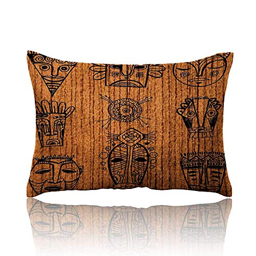 Anyangeight African Cars Pillowcase Ritual and Ceremonial Native Tribal Cultural Masks Spiritual Religious Art Print Youth Pillowcase 16