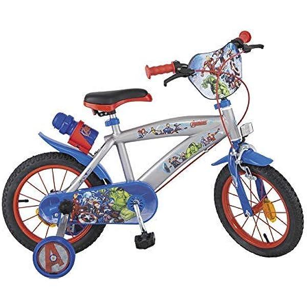 Carrefour Toimsa 000864 – Bicicleta Infantil, 14 Pulgadas (35,5 cm), diseño de Los Vengadores, Color Azul: Amazon.es: Juguetes y juegos