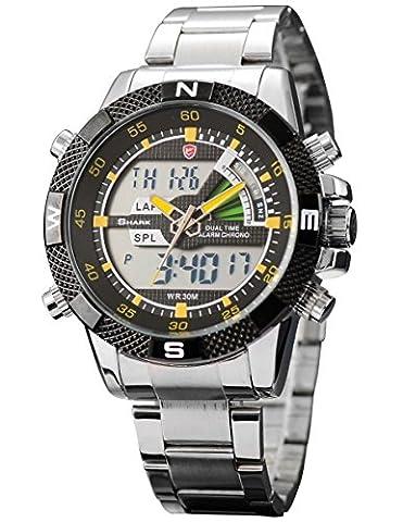 New SHARK Digital Alarm Day Date Stainless Mens Sport Wrist Watch Yellow Dial SH048 (Fantasy Wrist Watch)