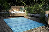 Fab Habitat Reversible Rugs | Indoor or Outdoor Use | Stain Resistant, Easy to Clean Weather Resistant Floor Mats | Cancun - Turquoise & Moss Green, (4' x 6') (Renewed)