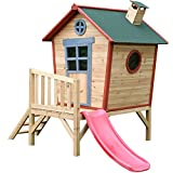 Redwood Tower Painted Wooden Playhouse - Children's Crooked Garden Play House with Slide