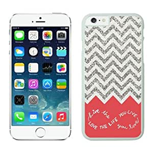 Pop White Silicone Iphone 6 Case Colorful Chevron Pattern Soft TPU Phone Back Cover