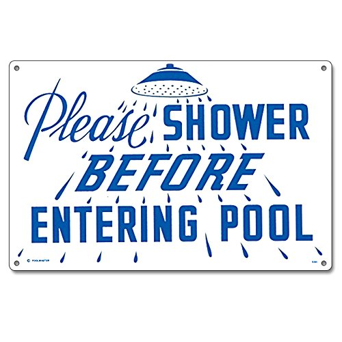 Poolmaster Sign for Residential or Commercial Swimming Pools, Please Shower ()