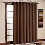 RHF Thermal Insulated Blackout Patio Door Curtain Panel, Sliding Door  Curtains, Wide Curtains: 100W By 84L Inches Chocolate