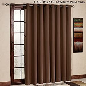 RHF Thermal Insulated Blackout Patio door Curtain Panel, Sliding door curtains, Wide curtains: 100W by 84L Inches-Chocolate