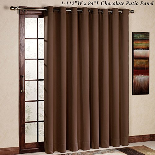 RHF Thermal Insulated Blackout Patio door Curtain Panel, Sliding door curtains, Wide curtains: 100W by 84L Inches-Chocolate (84in Vertical Blinds)