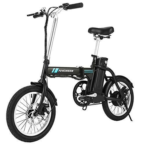 ANCHEER Folding Electric Bike, 16 Inch Collapsible Electric Commuter Bike Ebike with 36V 8Ah Lithium Battery (Black) - Mini Folding Bicycle