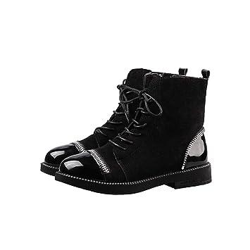 YMFIE Botas Cortas de Moda con Cordones, Zapatos de Mujer de ...