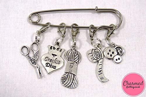 Crochet Diva - Crochet Stitch Markers - Silver set of 5 - perfect gift or stocking filler for those who love Crochet or Knitting