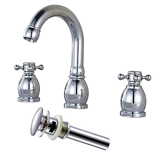 Zovajonia Deck Mounted 3 Holes Bathroom Basin Vessel Sink Faucet Two Handles Widespread Chrome Mixer Tap with Pop Up Drain -