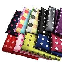 MENDENG Mens Assorted Cotton Polka Dots Pocket Square Handkerchief Set of 11