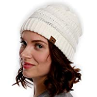 Womens Cable Knit Beanie - Warm & Soft Stretch Winter Hats for Cold Weather