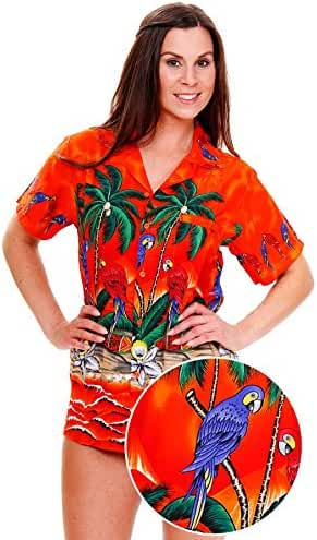 Funky Hawaiian Blouse Women Short-Sleeve Front-Pocket Surf Parrot Multiple Colors