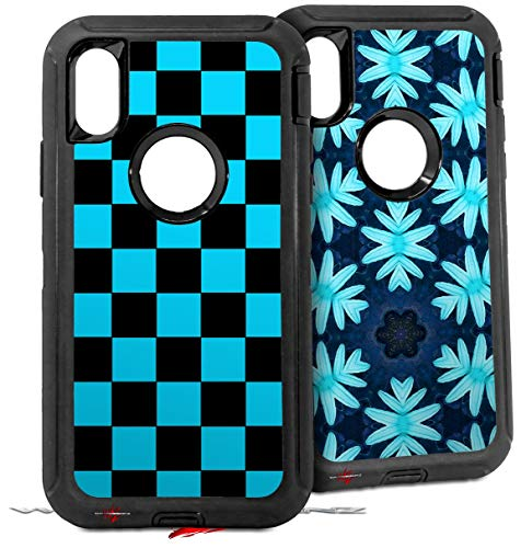 2X Decal Style Skin Wrap Set Compatible with Otterbox Defender iPhone X and Xs Case - Checkers Blue (CASE NOT Included) ()