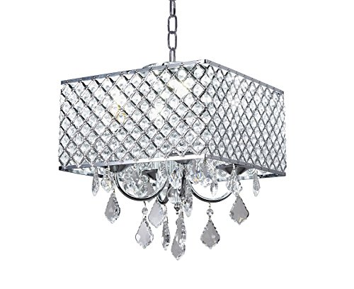 - New Galaxy 4-Light Chrome Finish Square Metal and Crytal Shade Crystal Chandelier Pendant Hanging Ceiling Fixture