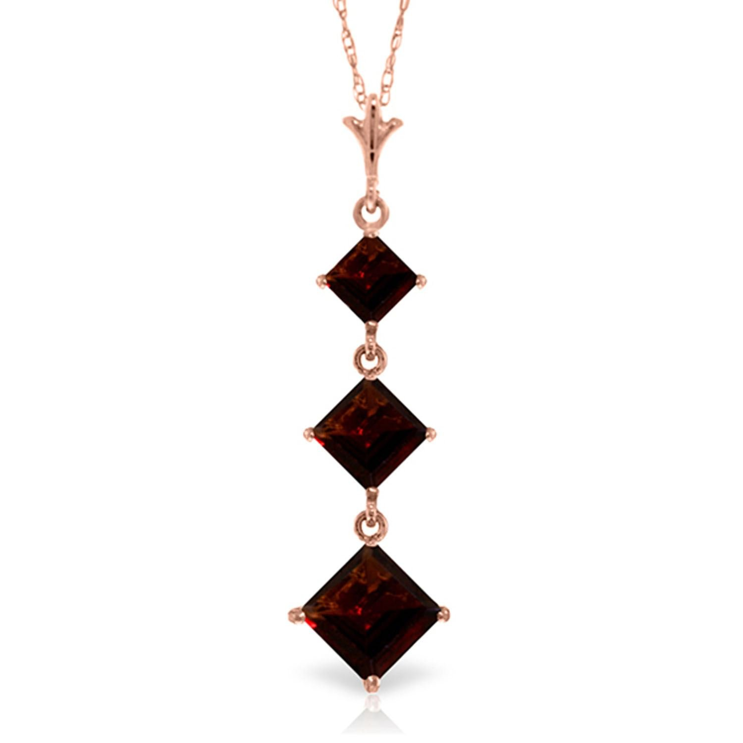 ALARRI 2.4 Carat 14K Solid Rose Gold Waterdrops Garnet Necklace with 22 Inch Chain Length
