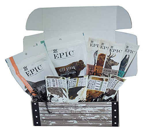 Ultimate Epic Jerky Stash Gift Box - Epic Variety Pack - Epic Strips, Bars and Bites - Beef Salmon Boar Turkey Bison Jerky