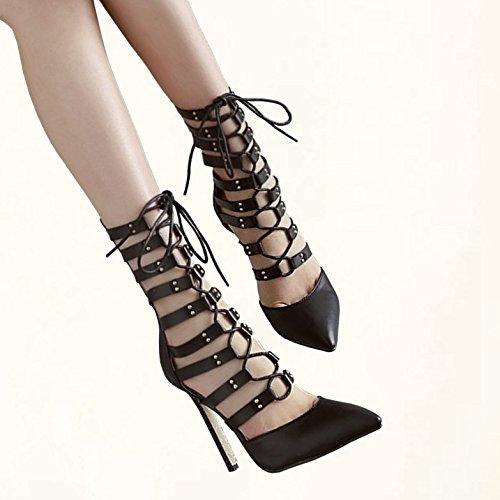 moda con alti 37 YMFIE alto EU la Fine Estate appuntite ladies cool tacchi tacco 36 alla diagonali sexy UE temperamento sandali comoda stivali qxE74Unx