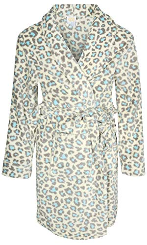Sweet & Sassy Girls Coral Fleece Printed Robe (Cream Leopard, 10-12)