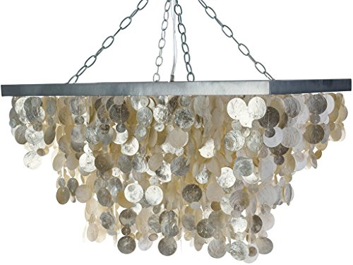 KOUBOO Rectangular Capiz Seashell Rain Drop Pendant Lamp, Champagne (Capiz Light Pendant)