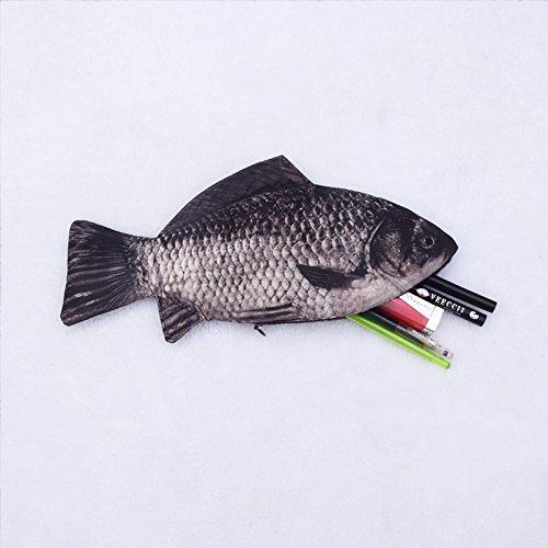 Vivian creative pen bag fish shape pencil case zip pouch for Realistic fish pencil case