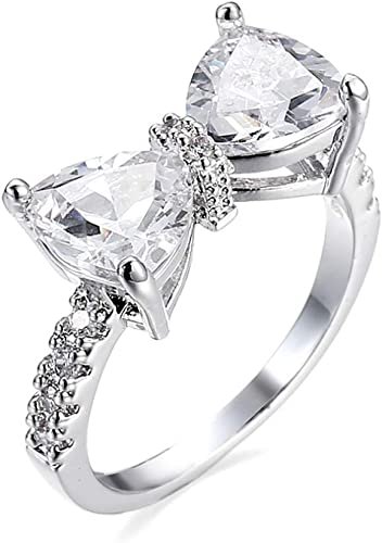 925 Sterling Silver Cute Bow Knot Ring Cubic Zirconia Wedding Engagement Ring for Girls Women,Size 5 to 9
