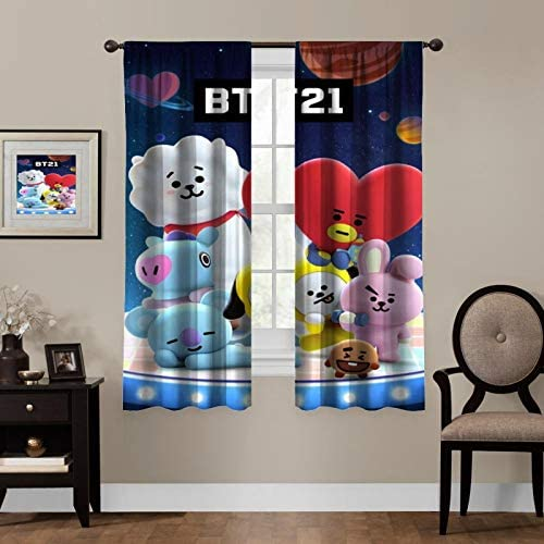 Blackout Curtains,BTS Peripheral Products,Living Room Bedroom Window Drapes Panels Set of 2