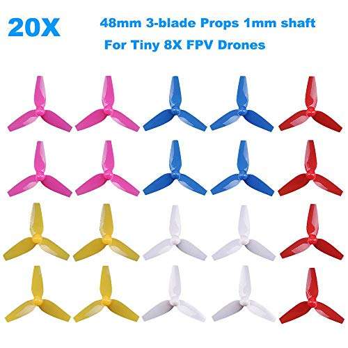 20pcs 48mm Propellers 3-Blade Prop CW CCW Sets Replacement Parts Tri-Blade for LDARC Tiny 8X FPV Drone Racing Quadcopter - Quadcopter Blades Replacement