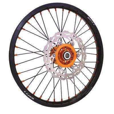 Warp 9 Complete Wheel Kit - Rear 18 x 2.15 Black Rim & Spokes/Orange Hub & Nipples for KTM 250 XC-W (E-Start) 2008-2018 by Warp 9
