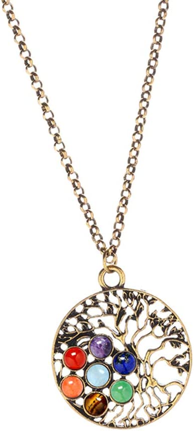 Cadena con Colgantes Piedras Preciosas Redondas Árbol de Vida Yoga Mandala para Fabricación de Joyas - Dorado