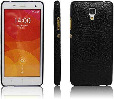 zl one Funda Xiaomi Mi4 PU Cuero Patrón Cocodrilo Bumper Back Case Cover (Negro)