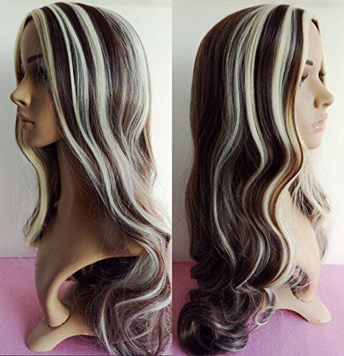 Wiged The New Brown/Rice White Rolls Are 60 Cm In The Fashion And The Hot Sale Of The European And American 8H613 Long Curled Hair,High Matte Silk Wig (Send A) Stealth Performance Party Of Realistic