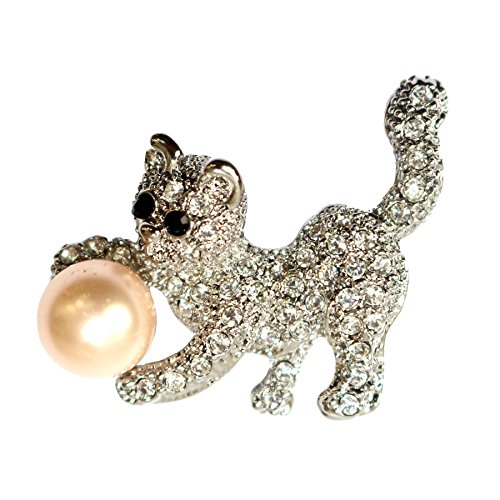 Cat Brooch - Navachi 18k White Gold Plated Clear Crystal Pearl Cat Brooch Pin