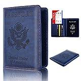 Storage Package, Yezijin Leather Passport Holder Wallet Cover Case RFID Blocking Travel Wallet (Blue)