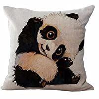 AS Polyester Cotton Linen Pillow Cover Cushion Cover PiIlowcase 18 x18 Inches ,Cute Panda, Black and White,
