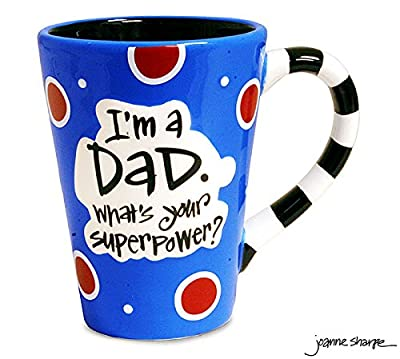 "12 Oz Dad Coffee Mug with ""I'm A Dad, What's Your Super Power?"" Great Gift"