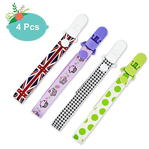 4Pcs Baby Pacifier Clips, SUNUNICO Premium Quality Universal Pacifier Clip with Teething Ring Holder with Adjustable Length Snaps, Safe Plastic Pacifier Loop Clips for Boys and Girls, Baby Gift Set - Flag Pacifier