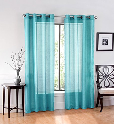 Ruthy S Textile 2 Piece Window Sheer Curtains Grommet Panels 54 X 84 Total 108 X 84 Turquoise